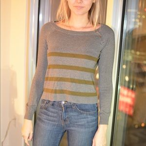 Ann Taylor LOFT grey and olive striped sweater